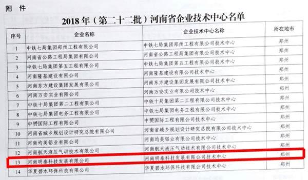 喜讯:明泰铝业子公司河南明泰科技发展有限公司被认定为省级企业技术中心